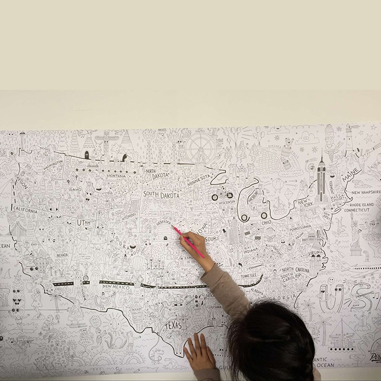 this giant coloring poster that can be used on the floor, on the wall, or even as a tablecloth.