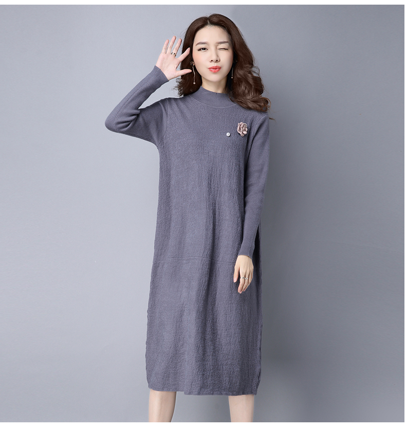 8954628f625b Women Full-sleeved Ankle-length Knitted Long Sweater Solid Dress ...