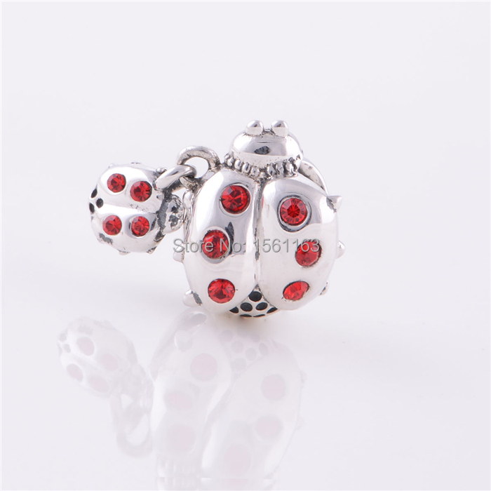 Free Shipping Guaranteed 100% 925 Sterling Silver S925 Silver Ladybug Charms Beads Wholesale Fit Pandora Bracelets X016
