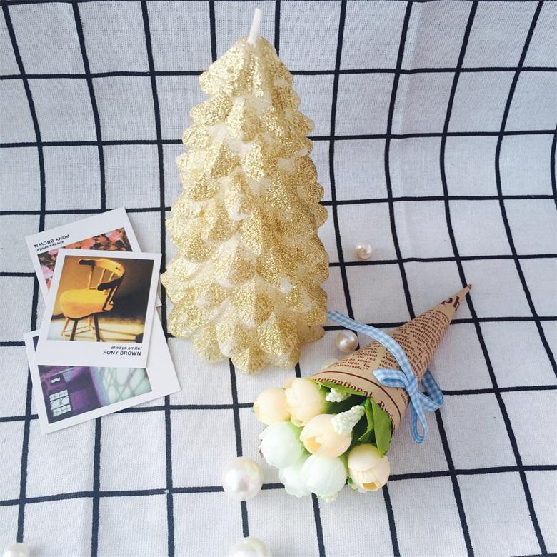 Christmas tree shape glitter home decoration art craft pillar candles