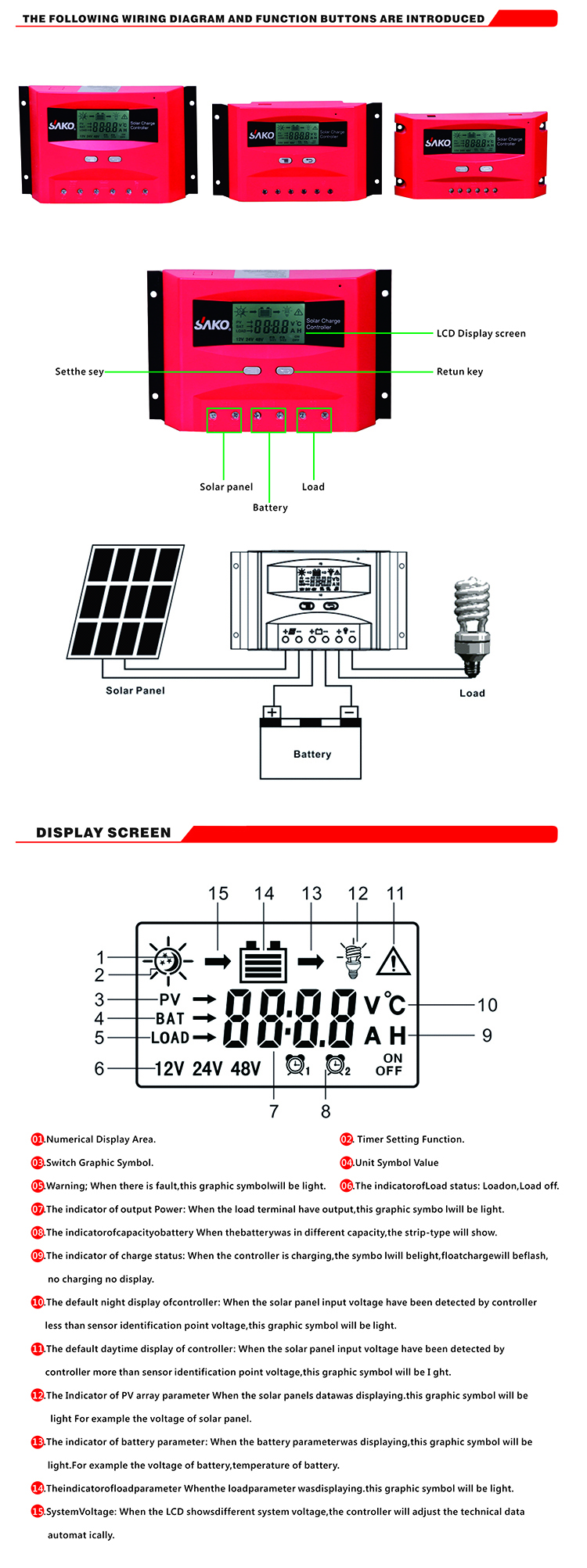 10A12V24V PWM solar charge controller