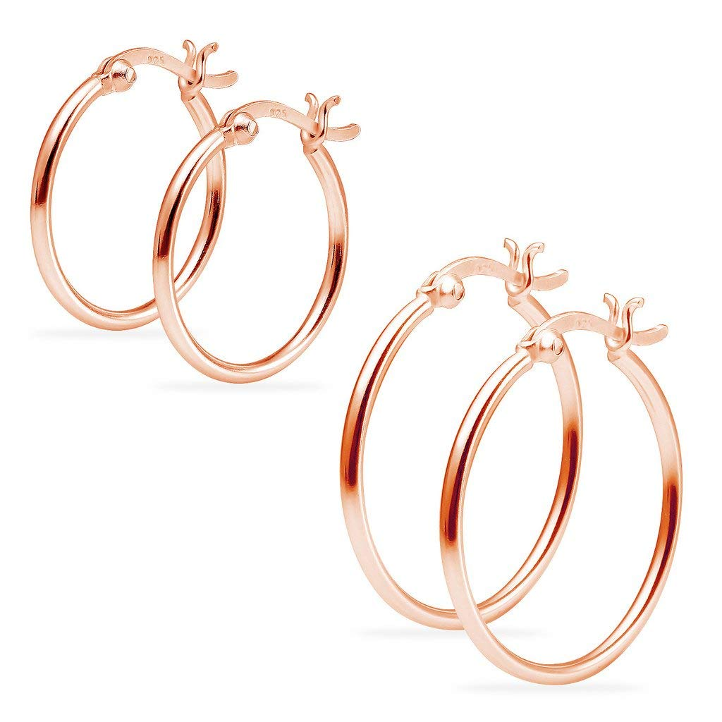 7bed000d2 2 Pairs Sterling Silver Click Top Hoop Earrings Set for Women Girls 1.5mm x  25mm