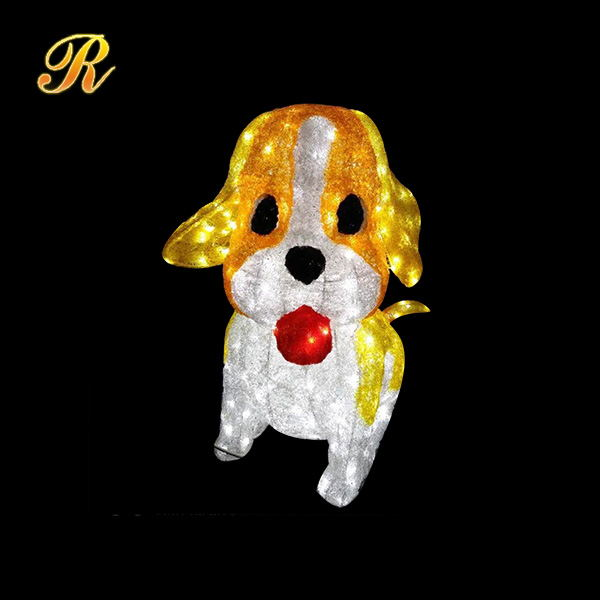 Acrylic light up puppy dog for new year decoration