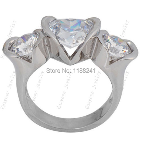 10ps/lot Size 6/7/8/9/10 Finger Ring For Women 10KT White Gold Filled Zircon Stone NEW Arrival Heart Design RW0392