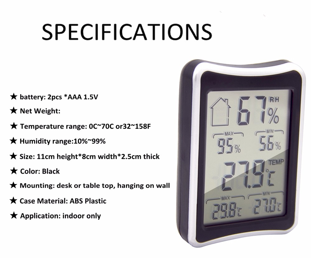 Digital larger LCD temperature and humidity meter  garden room digital thermometers hygrometer