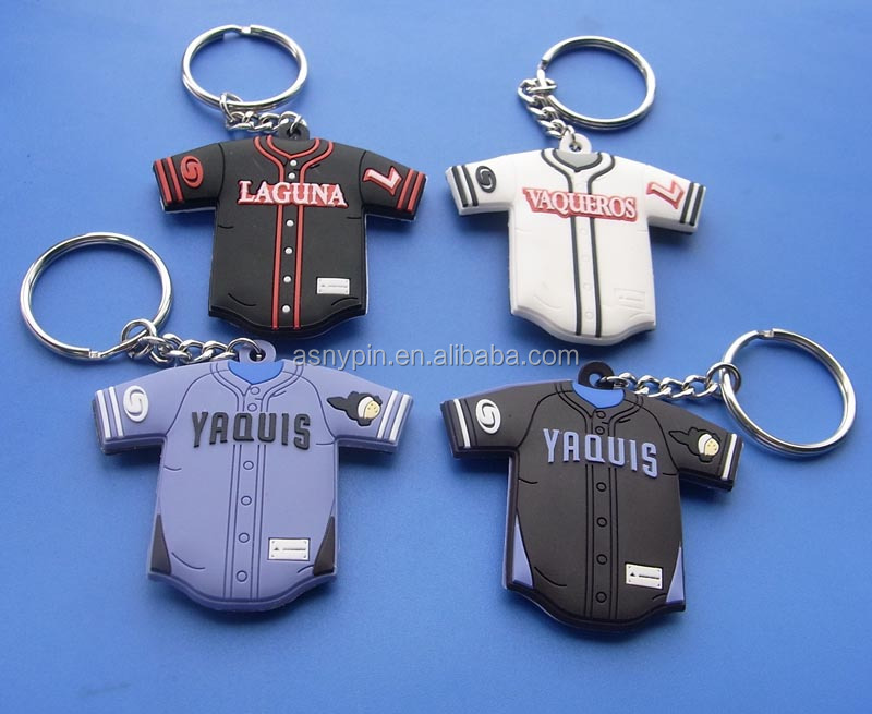 double-sided 3D custom logo T-shirt sports rubber keychain gifts