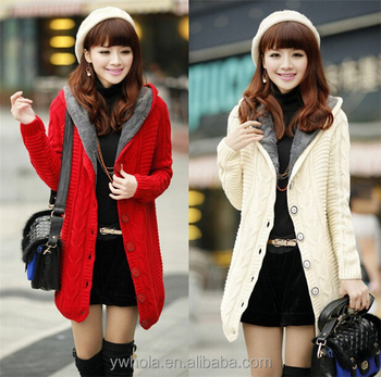 2015 Fashion Winter Warmer Women Long Red Cardigan Knit Sweater Coat