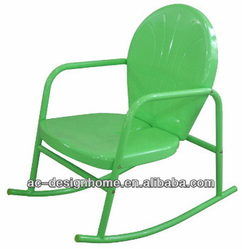 RETRO METAL ROCKING CHAIRS IN LIME GREEN