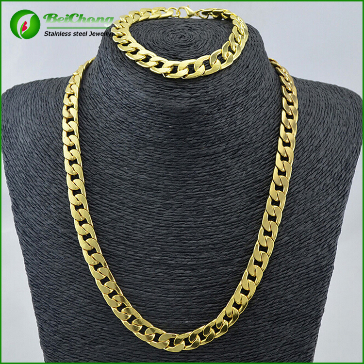 fashion mens cuban 14k gold chains made of stainless steel