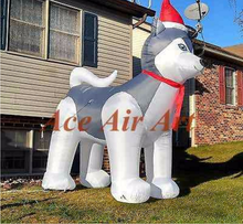 10FT holiday air blown wearing Santa hat door Christmas yard decoration husky dog Christmas inflatable