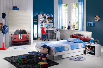 High Glossy Ferrari Race Car Bedroom Furniture Sets