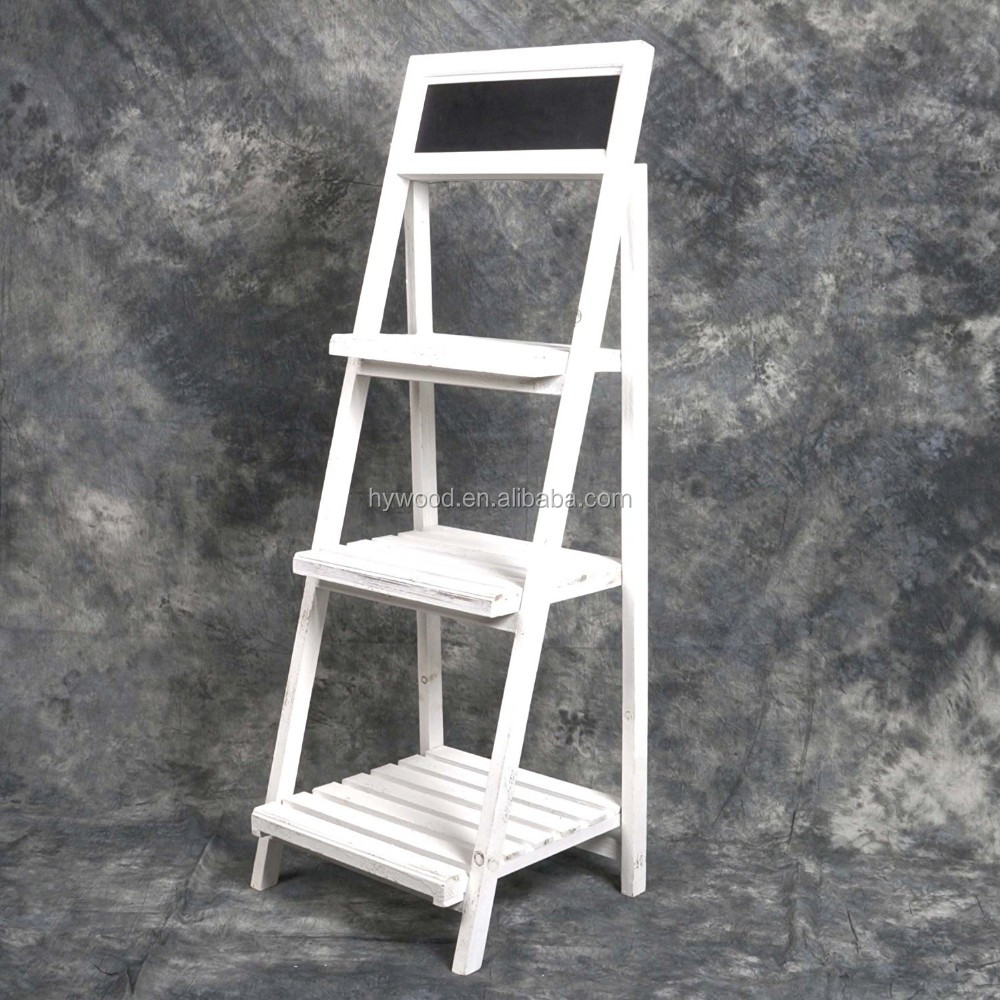 Washed White Vintage Style Folding Wooden 3 ladder tier Shelves Wood Flower Stand with Chalkboard for wedding decoration