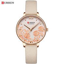 CURREN женские часы золотые модные классные кварцевые часы из нержавеющей стали с кожаным ремешком женские Relogios Feminino цветочные часы(Китай)