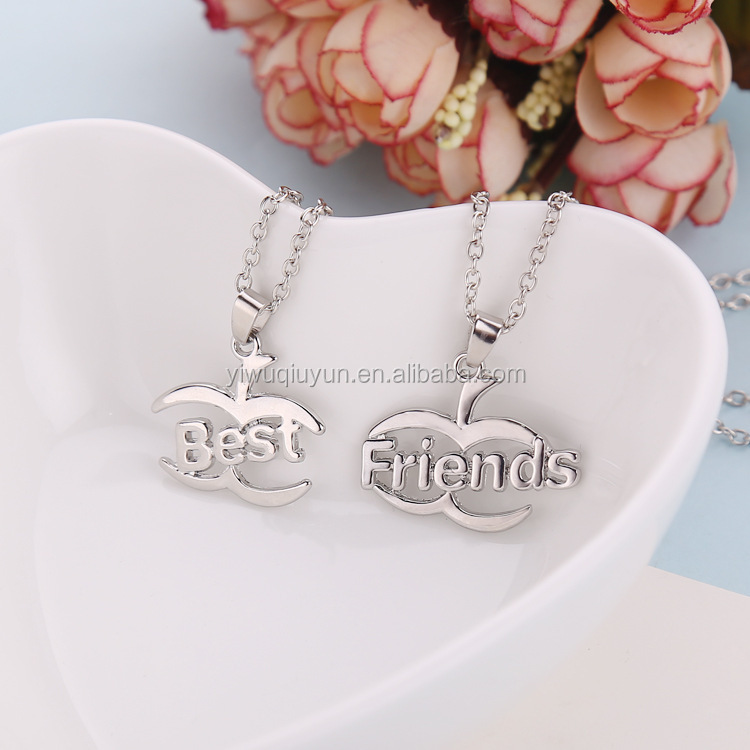 New Best Friend Necklace Hollow Clavicle Chain Necklace Sets Silver Plated Best Friends Apple Necklace