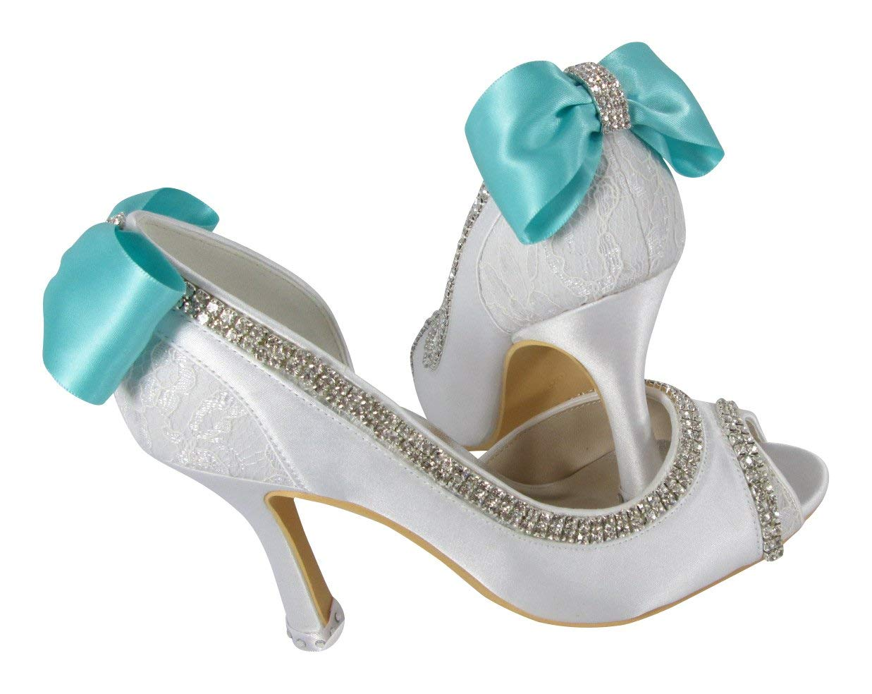 a135f724ee77 Get Quotations · Gift Box Ivory Lace Wedding Shoes Peep Toe Handmade  Rhinestone Embellishment Bows 3.5 inch high heels