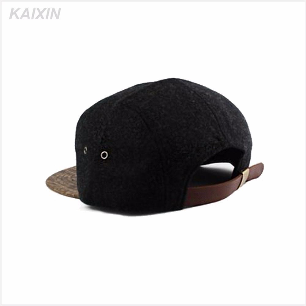 307a087c30150 Custom 5 Panel Adjustable Leather Strapback Wooden Brim Snapback Cap ...