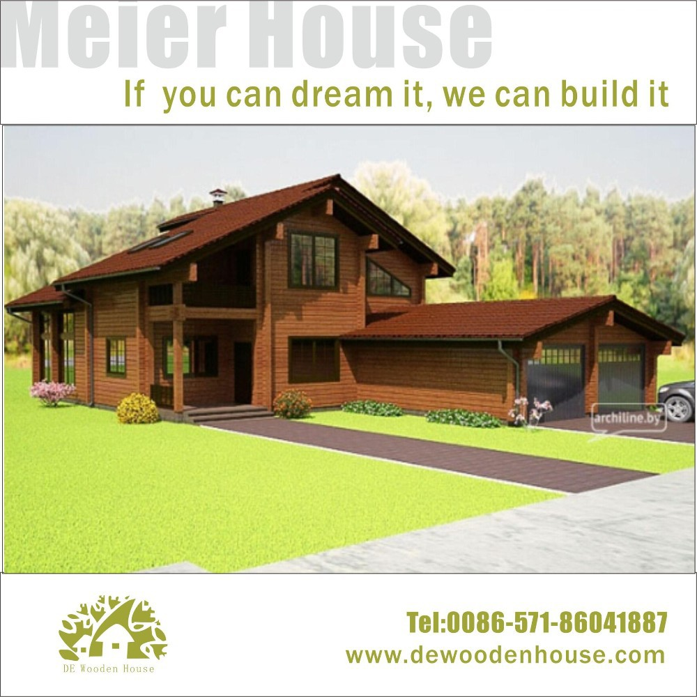 Prefab modern wooden house with music studio and double garages dy e 320