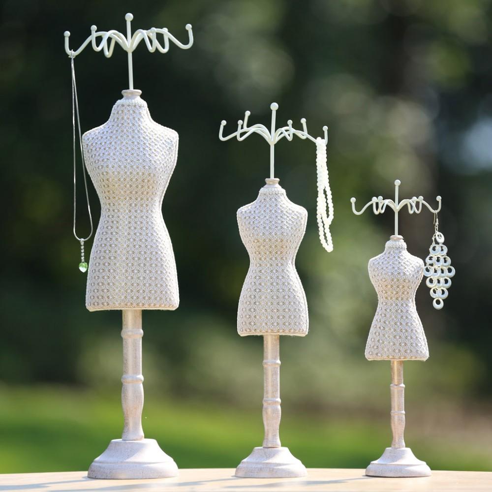 Offwhite Vintage Mannequin Design 6 Hook Wood Jewelry Organizer