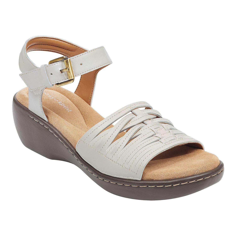 0e7e2dab4f8 Get Quotations · Easy Spirit DEKAH Womens Leather Wedge Sandals