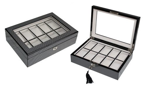 Hot Sale High End Carbon Fiber Exterior Wooden Watch Box for 10 watches storages