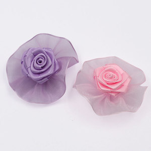factory wholesale organza ribbon flowers