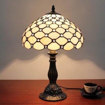12'' home light stained glass table lamp by handmade