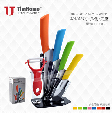 "3""4""5""6"" 6pieces white blade ceramic knife with peeler and Acrylic block ceramic knife set"
