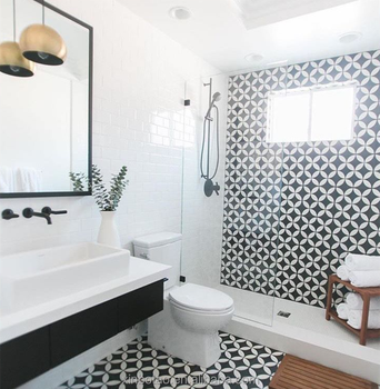 Architecture Bathroom Moroccan Antique Ceramic Floor Tile Black And White Pattern Tiles
