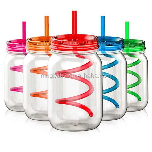 2016 Summer Promotion Bpa Free Plastic Mason Jar Wholesale With Lid