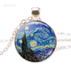 Van Gogh Monet Klimt's Paintings Necklace Art Picture Print Glass Pendants Silver Color Chain Necklace Fashion Jewelry for Women