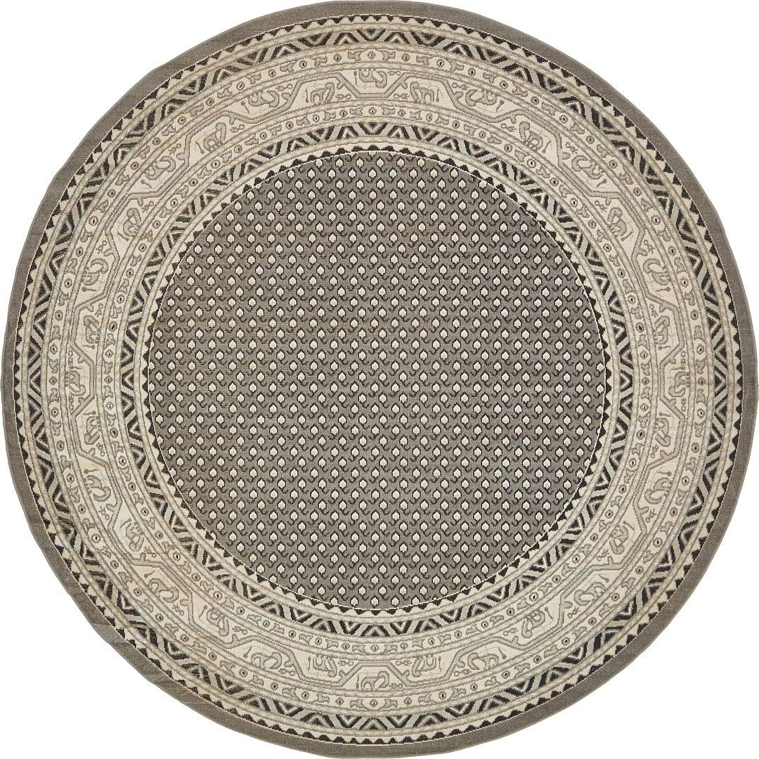 A2Z Rug Traditional Caen Collection Rugs Gray 8' -Feet-Round Area rug