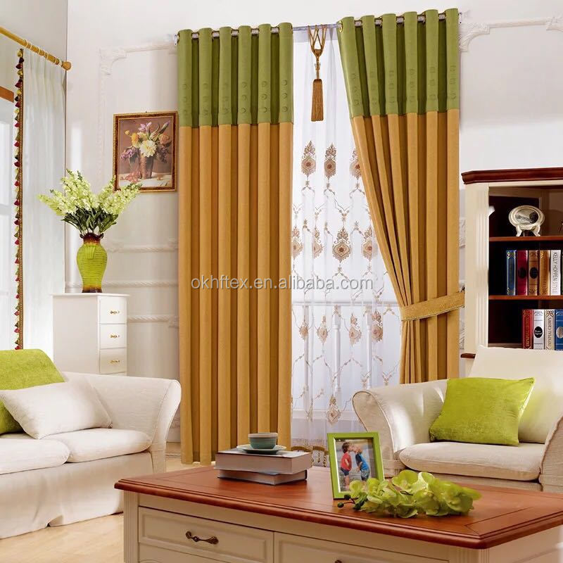 embroidery curtain fabric 100% polyester soundproof curtain