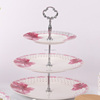 Hot sales high quality beautiful decal three layer cake stand ceramic cake plates