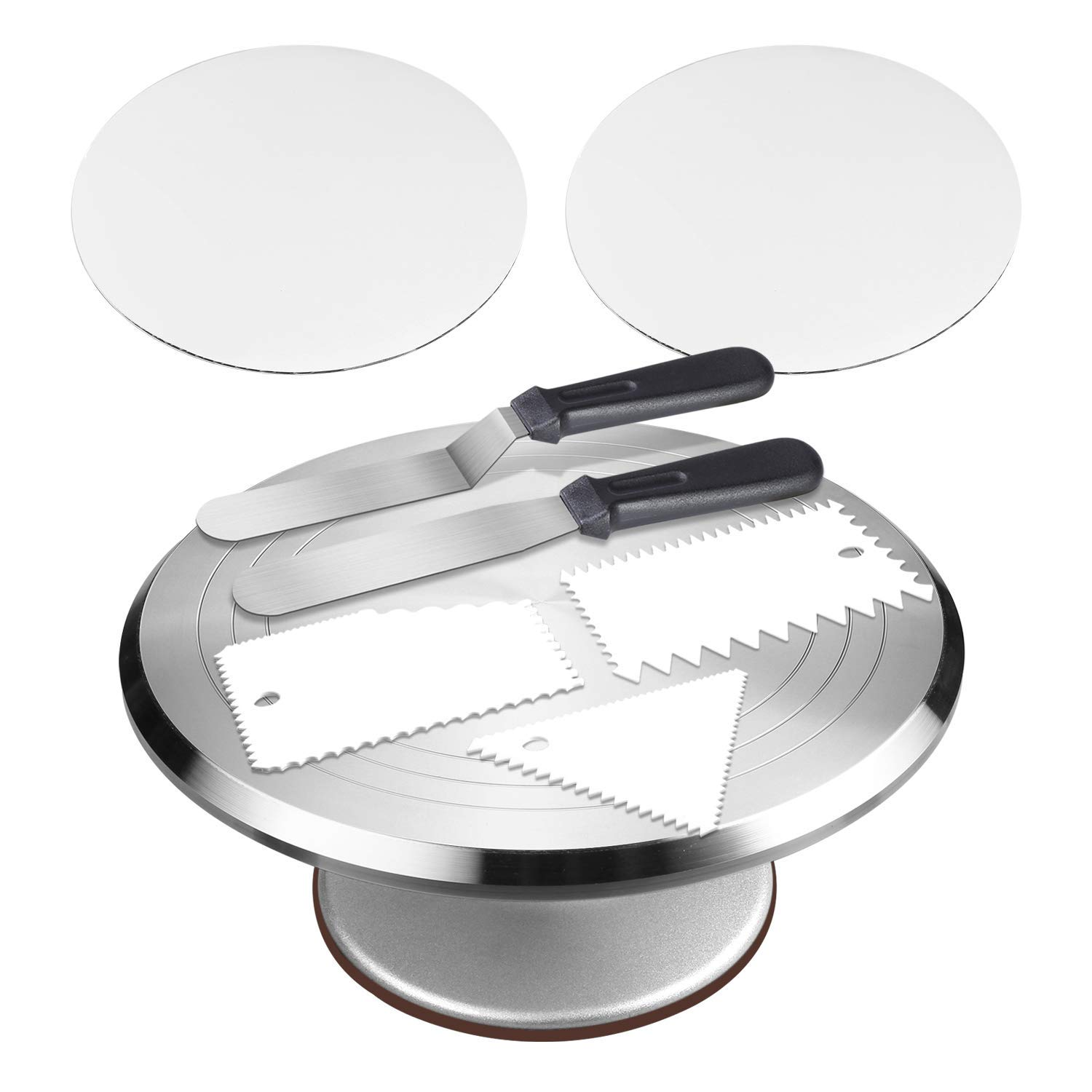 Cake Decorating Supplies - Aluminium Alloy Revolving Cake Stand with 12'' Rotating Cake Decorating Stand,2 Piece 10 Inch Cake Boards, 2 Angled Icing Spatulas,3 Icing Combs