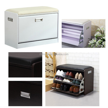 Black Wooden Shoe Cabinet Closet Storage Rack Pu Seat Bench
