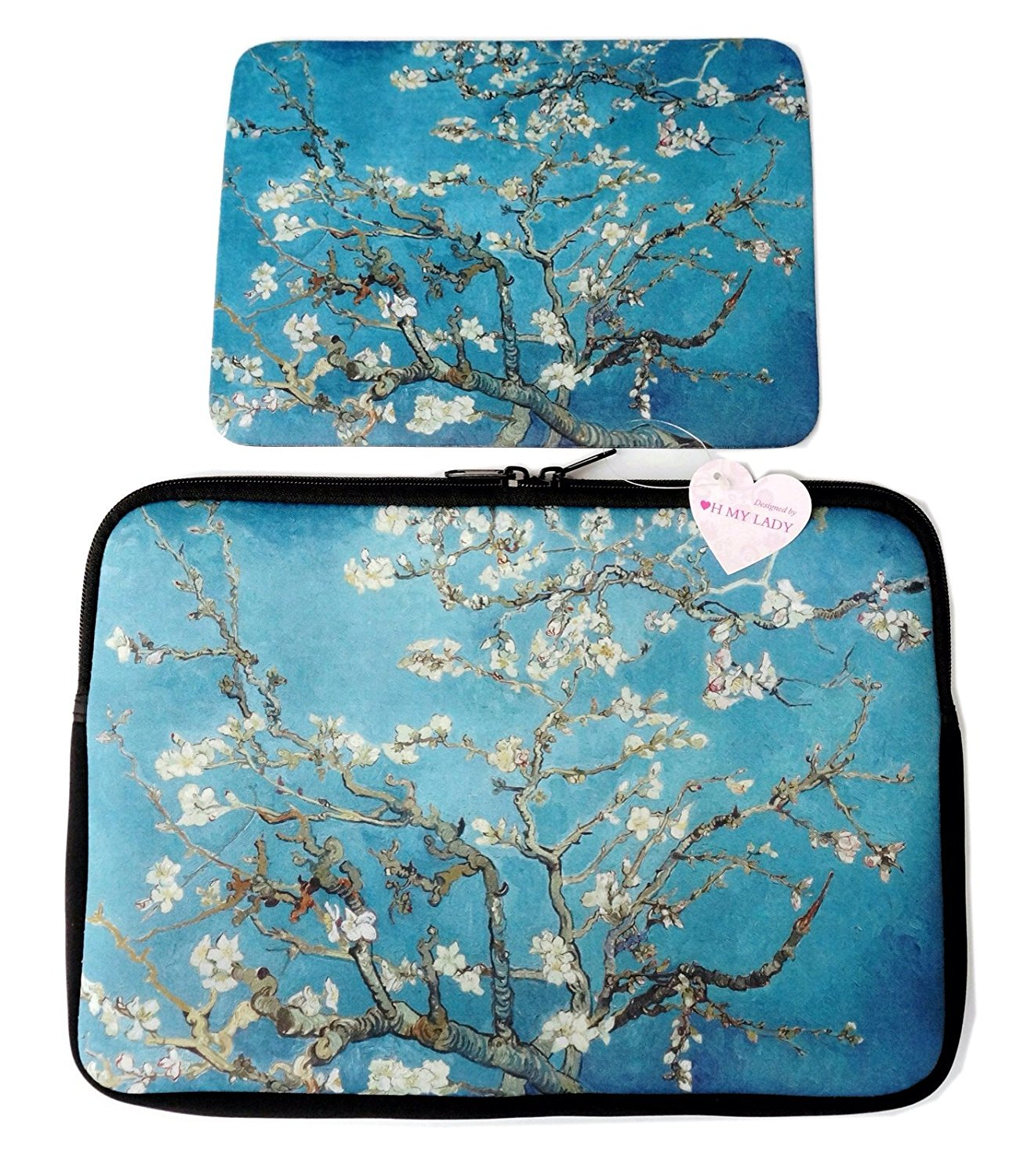 """Oh My Lady* 13-13.3"""" inch Van Gogh's Masterpiece (Almond Blossom) Oil Painting Neoprene Laptop Case/Sleeve/Bag/Pouch/Cover – Available in 7 Patterns"""