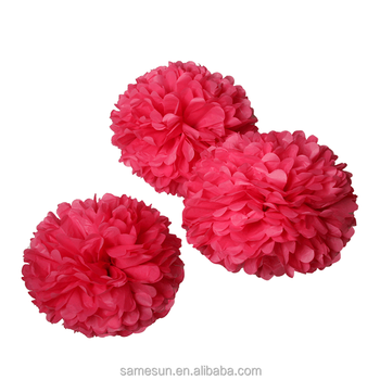 Hot Pink Tissue Paper Pom Poms For Wedding Party Decoration