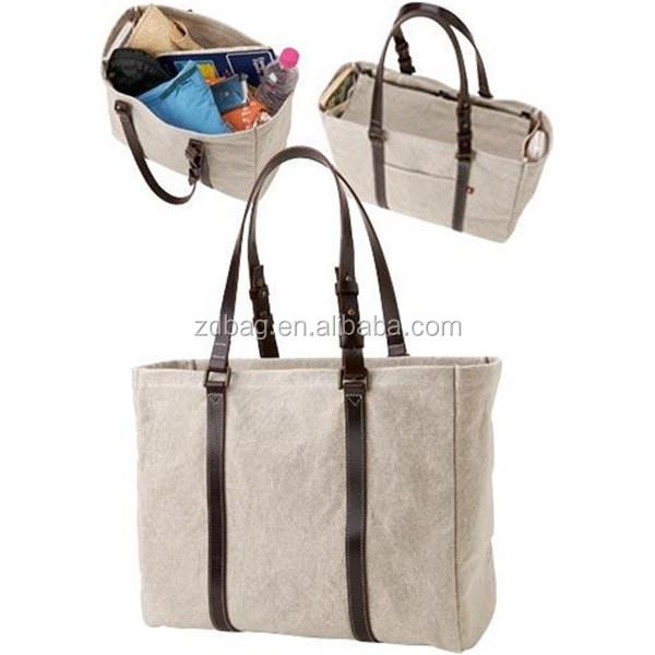 katun lucu pantai tas kanvas tote bag dengan kantong