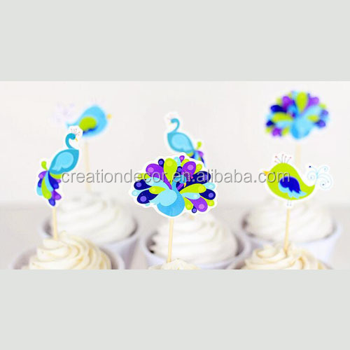 Stock Beautiful Peacock cupcake decorative topper toothpicks