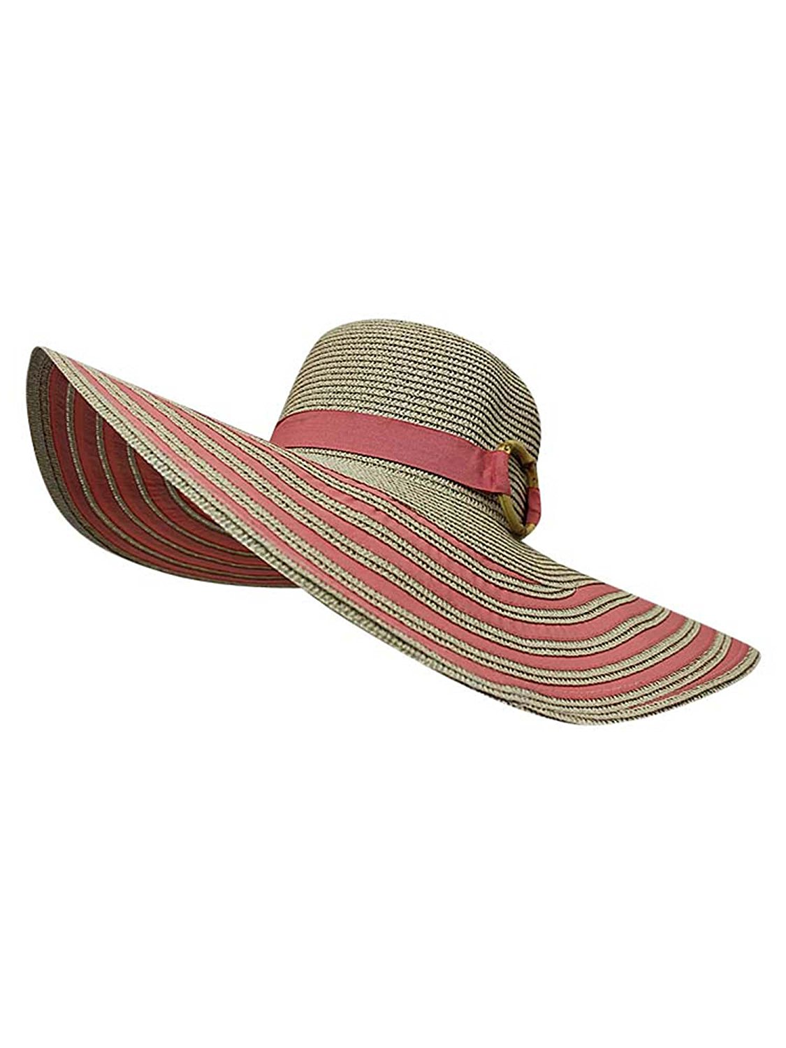 Get Quotations · Luxury Divas Striped Straw Floppy Hat 6fa6a68d9174
