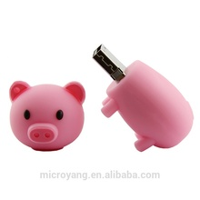 Hot New Products Cute Pig 32GB Pendrive Rubber USB Flash Drive 8GB 16GB 32GB 64GB With Logo Printing