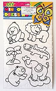 High Quality Variety of animals DIY Coloring Stained Stickers For Kids Art and Crafts For Kids Window Clings Family Activities Fun Crafts For Kids Art Projects Removable Windows Stained Glass Decals