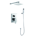 Luxury Bathroom single lever bath diverter square concealed shower faucet mixer with hand shower