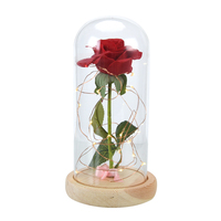Decorative Flower Rose Eternal Preserved Decorative Rose Flower with Led Lights In Glass Dome For Gift