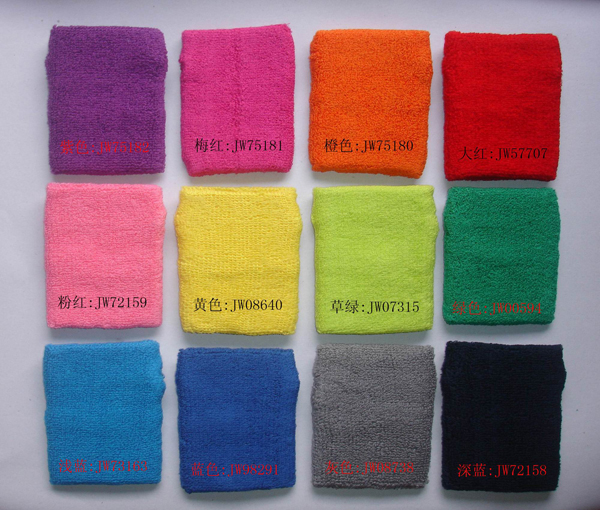 Wholesale Cotton Fabric Wrist Sweatband with Custom Embroidery Logo Sport Wristband
