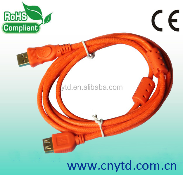 orange color nylon net mini usb extension cable