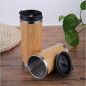 2018 Wholesale 16oz eco-friendly insulated Non-toxic natural bamboo tumbler/wooden travel mug/cup with stainless steel lid