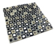 Factory wholesale 8mm thickness black-white stone mix mirror mosaic glass tile