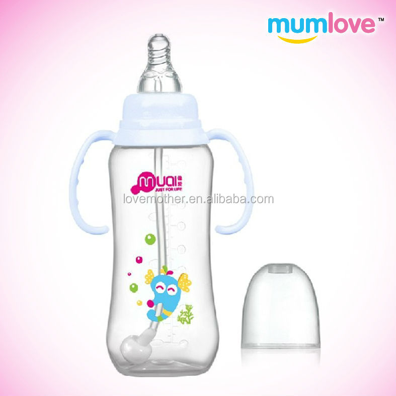 elegant bpa free plastic feeding baby water bottle with silicone rubber breast silicone nipple wholesalers