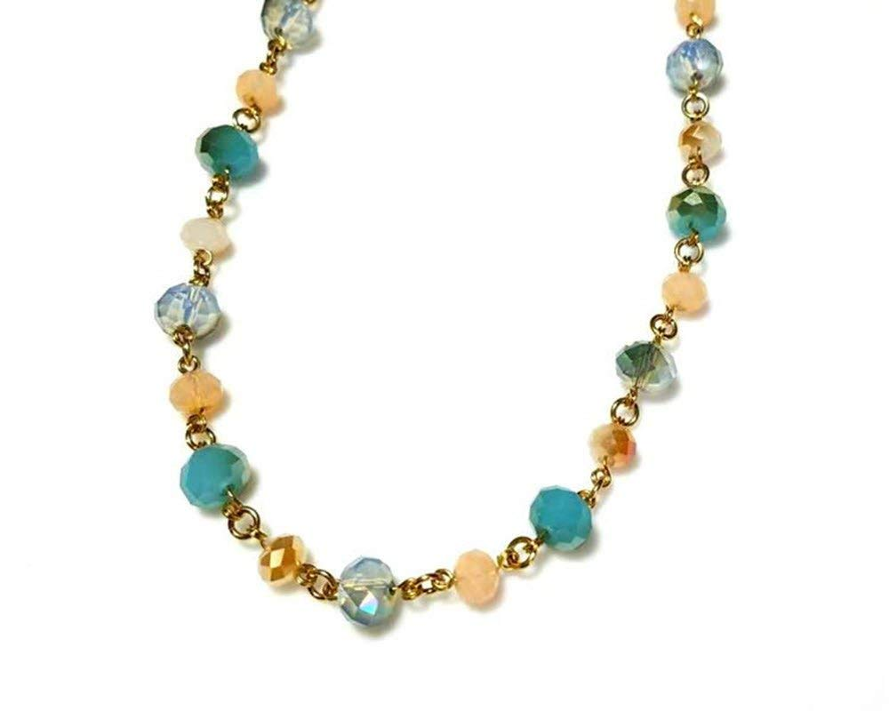 9d860659b Get Quotations · Mint Green and Peach Crystal Beaded Gold Necklace with  Extension Chain